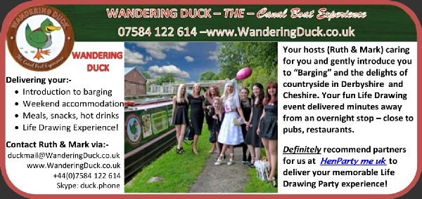 Try your Hen do cruising on this superb narrow boat - and combine it with Life Drawing and a Butler to serve that all important Bubbly